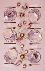 Pale Pink Striped Small Paper Plates- Amethyst