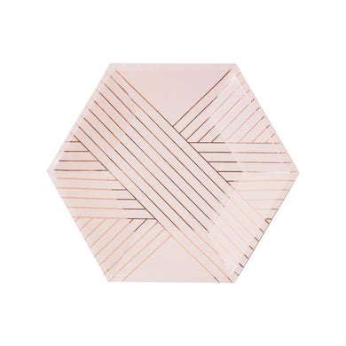 Soft and romantic, our pale pink hexagon paper plates adorned with delicate rose gold lines are perfectly made for showers, birthdays and special affairs.  Colors: Pale pink, rose gold foil Paper plates Approx. 8