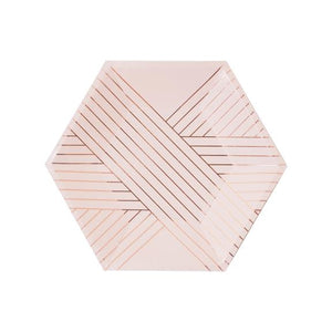 Pale Pink Striped Small Paper Plates- Amethyst by harlow & grey  0039853110147
