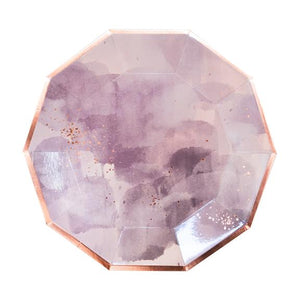 "With layers of beautiful lavender watercolor and rose gold sparkles, our large decagon paper plates make an everlasting impression at showers and weddings.  Colors: Light purple, pale pink, rose gold foil Paper plates Approx. 9.75"" corner to corner  8 Plates / pack"