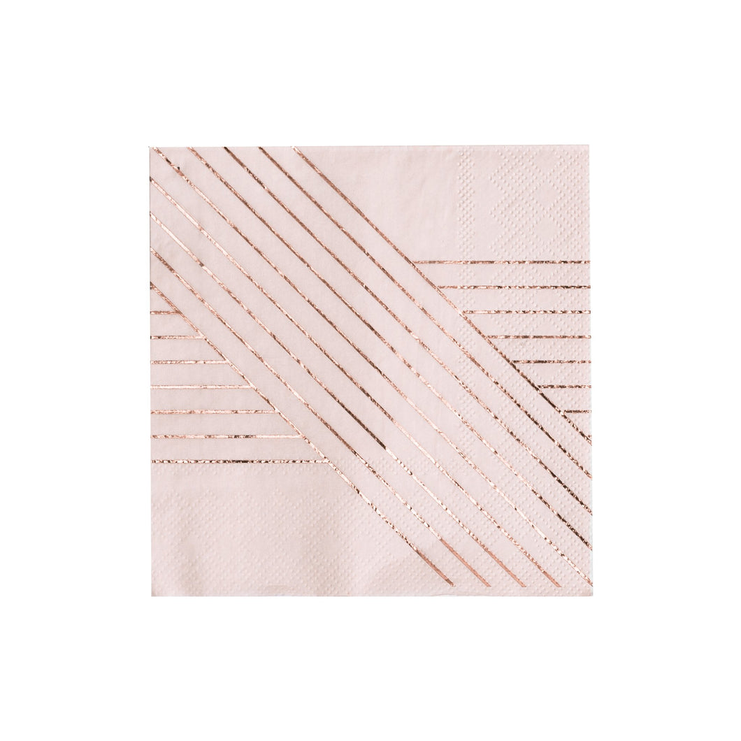 Elegant pale pink cocktail napkins inset with elegant gold stripes add a dash of style to your tabletop, dessert station, or bar cart.  Colors: Pale pink, rose gold foil Cocktail napkins Made of paper Approx. 5