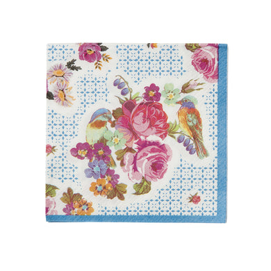 Truly Scrumptious Amuse Bouche Napkins, with lovely vintage floral design, perfect for afternoon tea parties and more.  40 small napkins perfect for afternoon tea or cocktails & canapes.  Size when folded out: 8