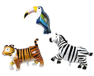 "Bring the jungle to the party with these fantastic animal balloons - with a zebra, a tiger and a toucan, who can fail to have a good time! Pack of 3 animal shaped foil balloons by Talking Tables.  Tiger balloon: 18"" x 24""  Toucan balloon: 15"" x 11""  zebra balloon: 18"" x 26"""