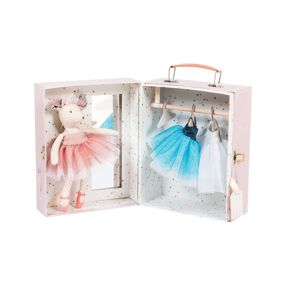The perfect gift for the little ballerina in your life, this adorable little play set from French toy maker Moulin Roty features a beautiful prima ballerina mouse doll wearing a sweet pink outfit. She comes in a lovely suitcase featuring a safe mirror, a clothes bar, 3 hangers and 2 extra beautiful ballet dresses. Doll measures 9
