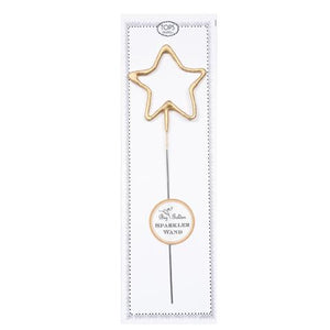 "Big Golden Star Sparkler Candle Wand! From birthdays to graduation parties, anniversaries to New Year's Eve, celebrate any occasion with a shower of sparks. Add sparkle cards to a cake or any special dessert to celebrate birthdays, anniversaries, or any occasion. Great for gifts, wrapping embellishments, or party decor.  8"" tall Clean burning"