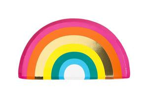 Chase away the clouds with these beautiful rainbow plates! Each pack contains 12 paper plates with eye-catching gold foil detail  size approx: 9