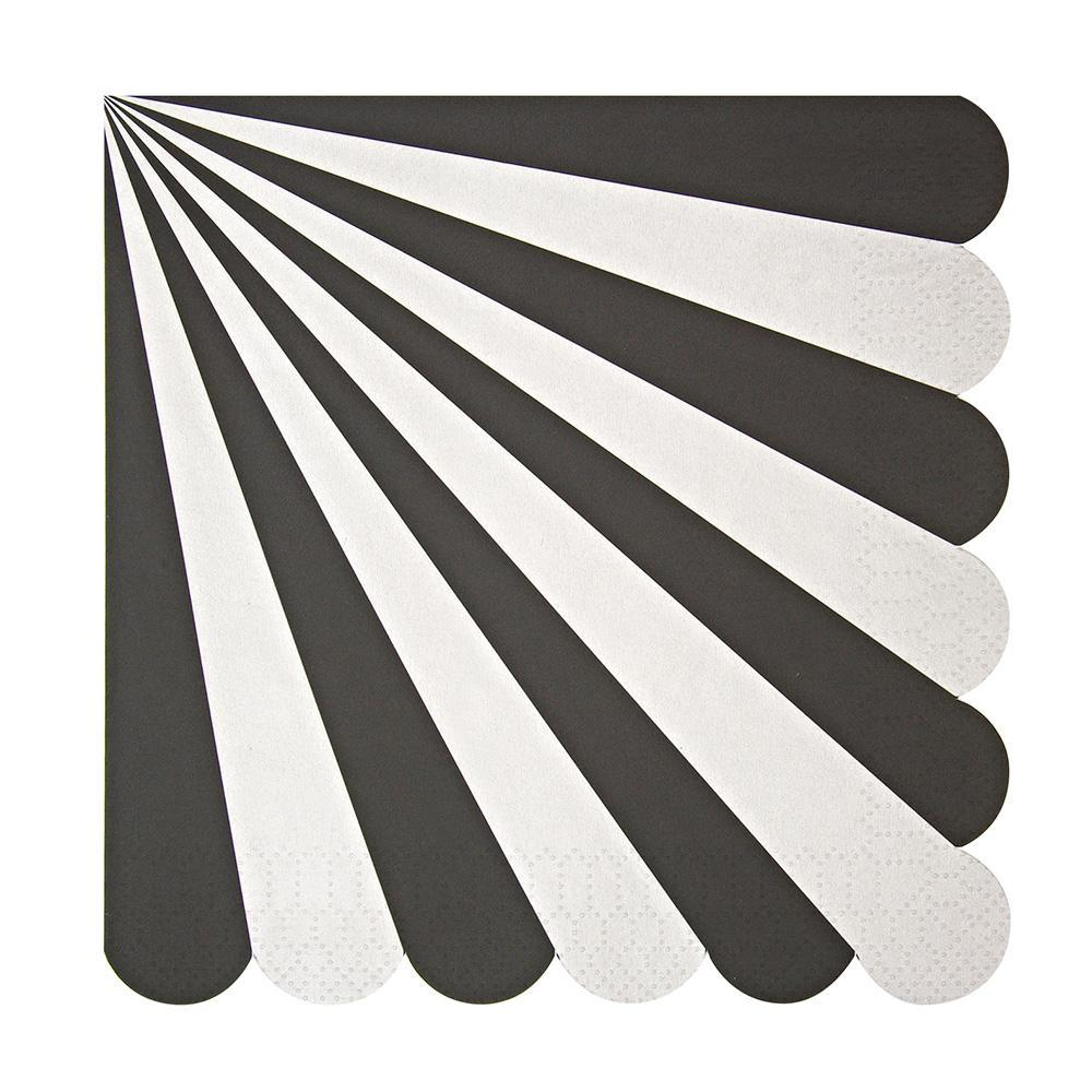 Whether you're planning an elegant evening of drinks or celebrating a graduation or promotion, you can't go wrong with our understated Black Fan collection - high quality tableware featuring striking stripes. Plan your whole decor around this monochrome palette, or mix and match with other colours, patterns and themes.   Large Pack of 20 Folded size: 6 1/2