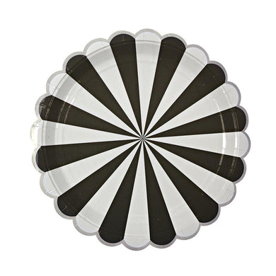 Black Fan Stripe Plates (large)