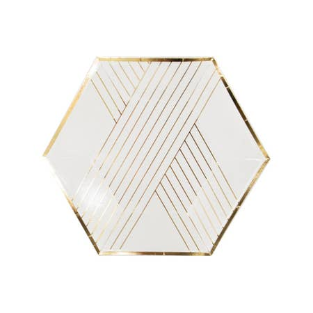 Inset with gold stripes on elegant hexagon, our white striped party plates are perfect for showers, weddings, birthdays, and holidays. Perfect for serving light bites and desserts. Paper Plates.  Colors: White, gold foil. 8 Plates / Pack .