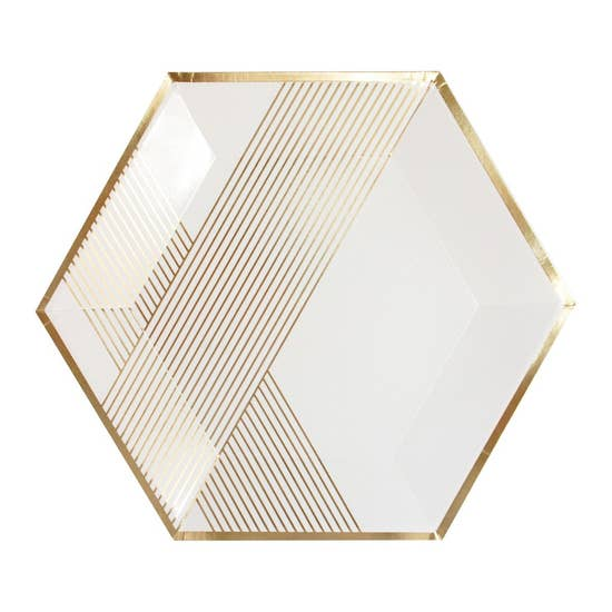 Inset with gold stripes on elegant hexagon, our premium white striped party plates are perfect for showers, weddings, birthdays, and holidays.  Colors: White, gold foil Paper plates Approx. 11