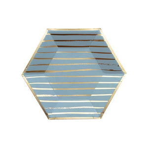 "A sophisticated hue adorned with relaxed gold stripes, serve up appetizers or dessert in the perfect handheld-size blue and gold plate for both relaxed or elegant gatherings, showers, birthdays, and special celebrations.  Colors: Blue, gold foil  Approx. 8""  8 plates / pack"