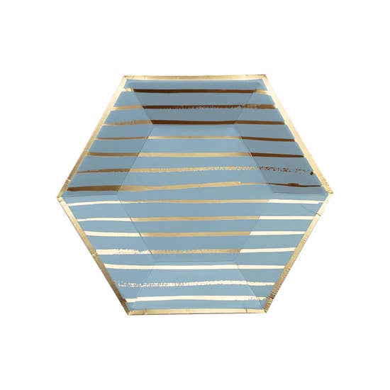 A sophisticated hue adorned with relaxed gold stripes, serve up appetizers or dessert in the perfect handheld-size blue and gold plate for both relaxed or elegant gatherings, showers, birthdays, and special celebrations.  Colors: Blue, gold foil  Approx. 8