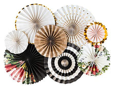 "These Party Fans are the perfect party decor for all occasions!  8 fans per set, 2- 17"", 2- 14"", 2- 11"", 2- 8"". Prefolded, designer collection. Easy to assemble."