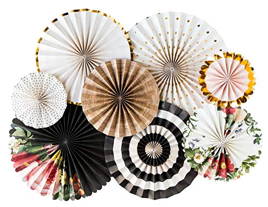 These Party Fans are the perfect party decor for all occasions!  8 fans per set, 2- 17
