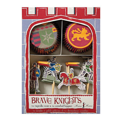 Does your little one dream of donning a suit of armour, battling ferocious dragons and storming the ramparts of enemy castles? Then they're going to be thrilled when they see our Brave Knights party collection! This cupcake kit features traditional chivalric motif patterns, with two styles of cupcake case and four different cake toppers.  Pack of 24 cases in 2 designs 24 themed toppers