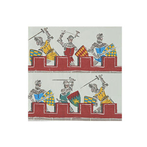 "Does your little one dream of donning a suit of armour, battling ferocious dragons and storming the ramparts of enemy castles? Then they're going to be thrilled when they see our Brave Knights party collection! These paper napkins feature a brilliantly illustrated battle scene, in bright colours and lots of detail.    Small Pack of 20 Folded size: 5"" x 5"""