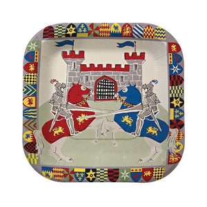 "Does your little one dream of donning a suit of armour, battling ferocious dragons and storming the ramparts of enemy castles? Then they're going to be thrilled when they see our Brave Knights party collection! These plates feature a heraldic shield border and a brilliant illustration of jousting knights with lances.   Small Pack of 12, 7"" x 7"""