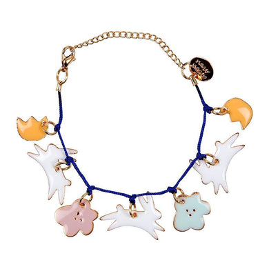 Looking for a beautiful non-chocolate gift for Easter? This charm bracelet, with adorable enamel bunnies and flowers, is guaranteed to be received with delight. Embellished with gold foil details and has a bold blue cord and gold tone chain and fastener.     7 enamel charms Blue cord Gold tone chain & fastener With 50mm of extension chain & Meri Meri Brass Plaque Pack size: 3.5
