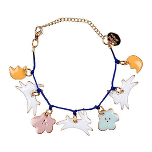"Looking for a beautiful non-chocolate gift for Easter? This charm bracelet, with adorable enamel bunnies and flowers, is guaranteed to be received with delight. Embellished with gold foil details and has a bold blue cord and gold tone chain and fastener.     7 enamel charms Blue cord Gold tone chain & fastener With 50mm of extension chain & Meri Meri Brass Plaque Pack size: 3.5"" x 2"" x 0.4"""