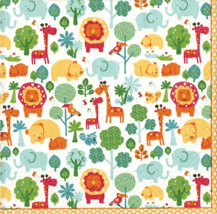 Celebrate your special day with calico zoo!  Pack of 20 paper Luncheon napkins, printed in Germany Napkins are made of triple-ply tissue printed with non-toxic, water-soluble dyes; biodegradable and compostable Beautifully designed to compliment any table Each individually folded Luncheon napkin measures 6-1/2-inches square and opens to 13-inches square, pack comes wrapped in cellophane