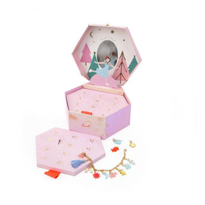 "This advent calendar is something truly special! Featuring a pretty jewelry box with numbered trays, which each reveal a beautiful charm. Add onto the gold tone bracelet every day to have a stunning accessory to wear on Christmas Day.   Themed jewelry box with numbered trays Reveal gold tone bracelet & acrylic festive charms Iridescent & gold foil detail  recommended age 8+  Pack size: 7"" 6"" x 3"""