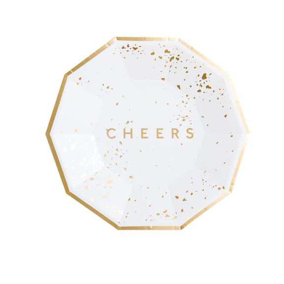 Beautifully understated with 'Cheers' in gold foil, our elegant small party plates elevate the everyday celebration. Pair with our gorgeous selection of cocktail napkins for all of your cocktail shindigs and holiday soirées.  Colors: White, gold foil Paper plates Approx. 7.5