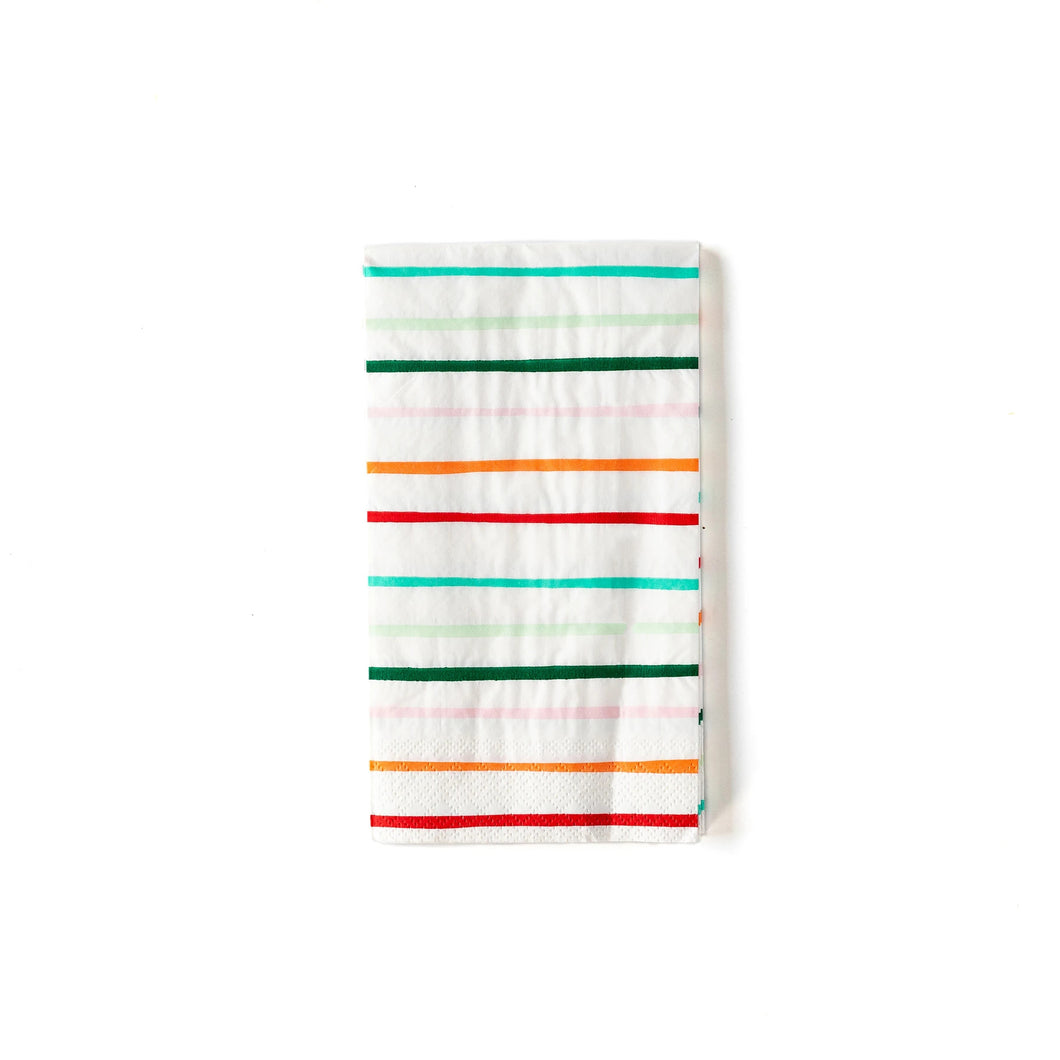 Deck the table with these bright dinner napkins! These festive striped additions to our party collaboration with Oui Party, will help create a polished holiday table that will be the envy of Mrs. Claus. Pair these napkins with our tree plates to complete the look.  • 4.5