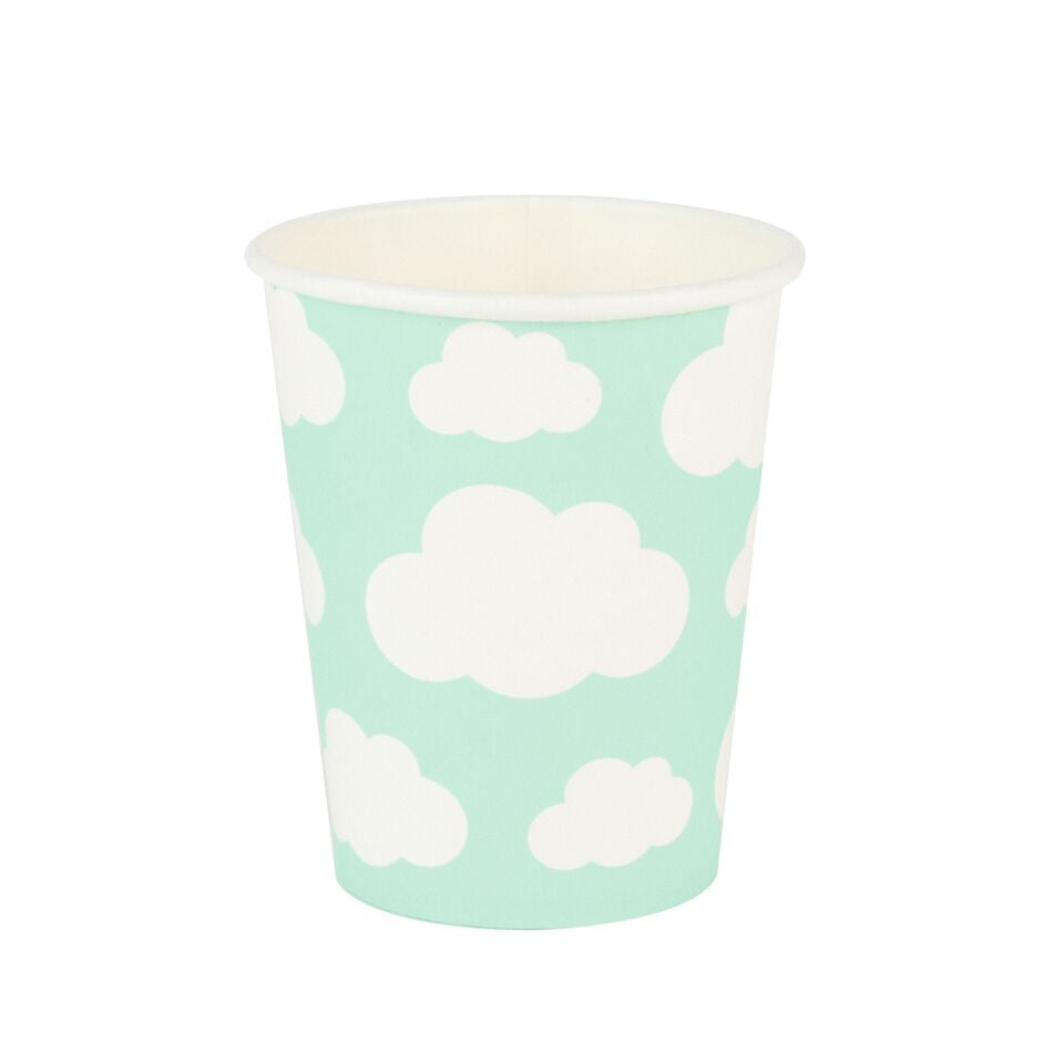 8 cloud-patterned paper cups, designed by My Little Day.  These cups are perfect for a cloud-themed birthday, a summery picnic, a baby shower, a christening, or any other special occasion!  Size: 3.5