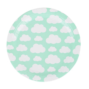 "8 cloud-patterned paper plates, designed by My Little Day.  These plates are perfect for a cloud-themed birthday, a summery picnic, a baby shower, a christening, or any other special occasion!  Size: 9"" Aqua."