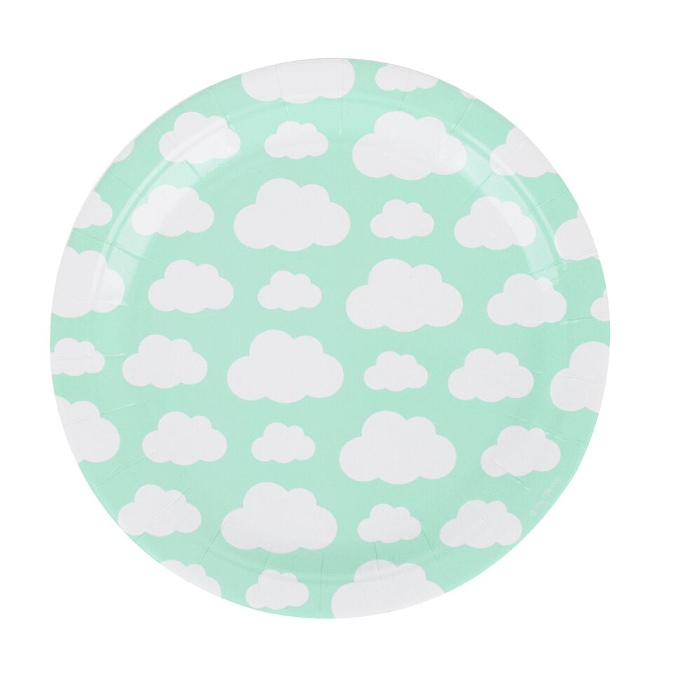 8 cloud-patterned paper plates, designed by My Little Day.  These plates are perfect for a cloud-themed birthday, a summery picnic, a baby shower, a christening, or any other special occasion!  Size: 9