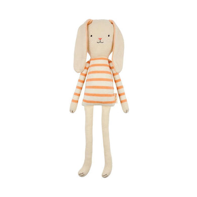 If you're looking for a beautiful toy for a little person, you couldn't do better than this soft and cuddly bunny. Made from knitted organic cotton, and featuring truly adorable floppy ears with sweet embroidered features, Pepper the bunny is the perfect companion for any little boy or girl - loveable, huggable and beautiful to boot!   Small Knitted organic cotton Coral stripe Stitched features, floppy ears & pompom tail Size: 4.7