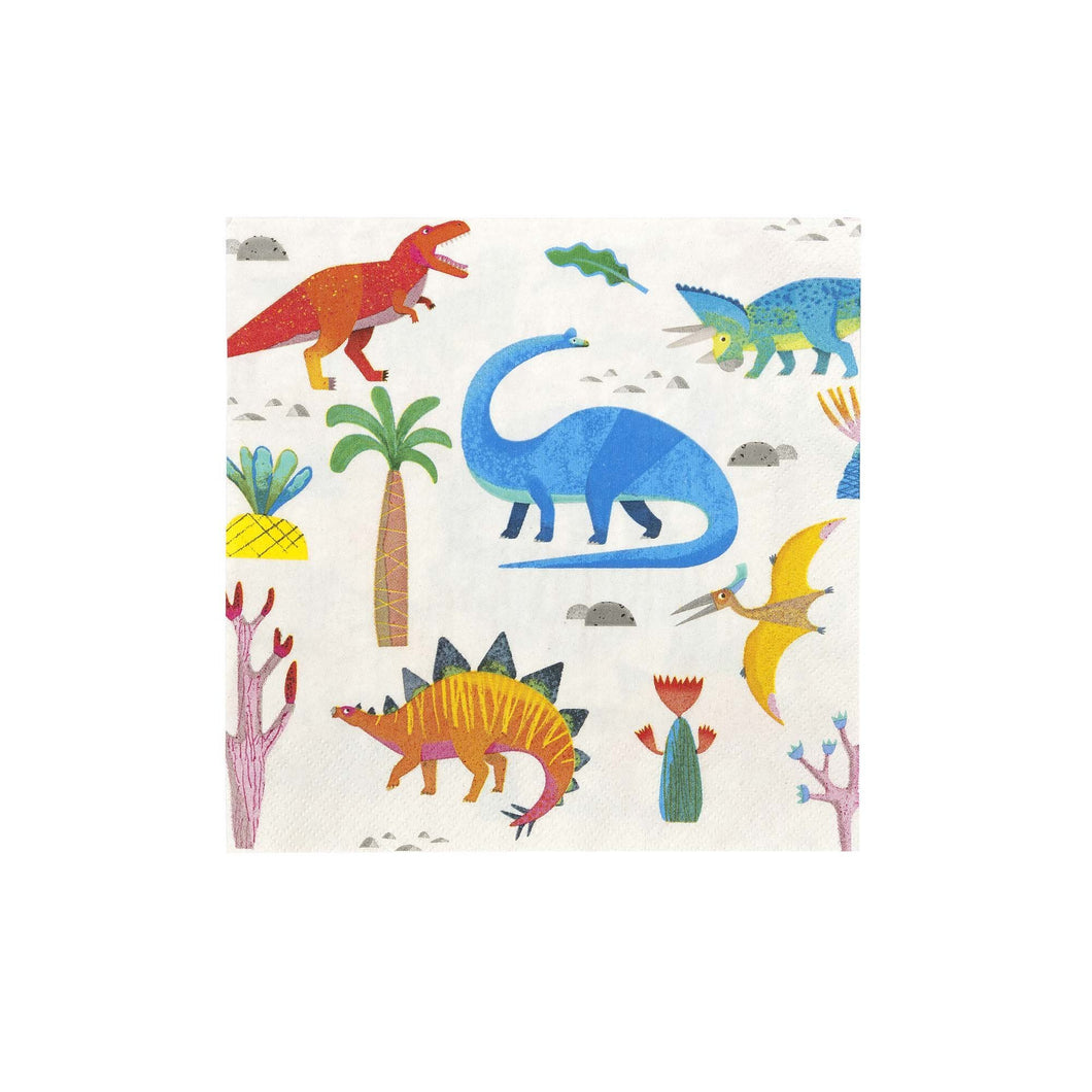 A ROARsome addition to your party! These eye-catching dinosaur napkins are perfect for catching crumbs. Each pack contains 20 napkins  approx size: 6 1/2
