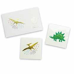 Roar! featuring bold colors and gold foil, these dinosaur tattoos are definitely dino-mite!  illustrated by carolyn suzuki for daydream society package contains 2 tattoos (1 each of 2 designs) each tattoo measures 2.5 inches square safe + non-toxic packaged in a cardstock envelope