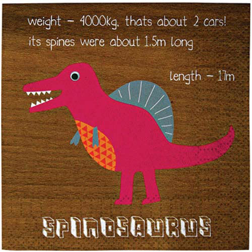 It's time for a prehistoric party with these dinosaur party napkins. Featuring the legendary spinosaurus, t-rex, stegosaurus and triceratops the napkins have a dinosaur in each quarter together with an information section about each. The napkins have a stylish, wood-effect background. Pack contains 20 paper napkins. Napkin size: (folded) 5 x 5 inches