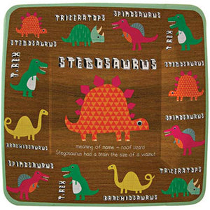 Get ready for a partysaurus with these dinosaur party plates. Featuring a host of prehistoric critters in bright colors on a textured, wood finish background with a square edge and green bead. The featured dinosaur has a short piece of information. Pack contains: 12 paper plates in 4 designs Plate size: 8 x 8 inches