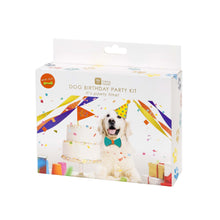 Dog's birthday party box with toy! Celebrate your dog's birthday in style! Includes everything you need to throw a birthday to remember for your four-legged best friend. Included Is 1 party hat, 1 bow tie, 1 celebratory flag, 1 dog toy, 3 coloured streamers and some confetti.