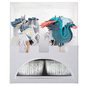 Turn your cupcakes into works of art with this beautifully illustrated kit. Featuring knights on steeds with tasseled tails, a castle and a fiery dragon.  Themed toppers with silver foil cupcake cases Neon print with silver & green foil detail Pack of 24