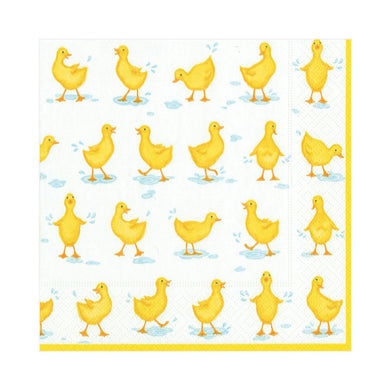 Little yellow ducklings splish and splash enjoying rain puddles outside. Triple-ply material offers convenience and durability. Printed in Germany using non-toxic, water soluble dyes. 20 Luncheon Napkins per Pack 6 1/2