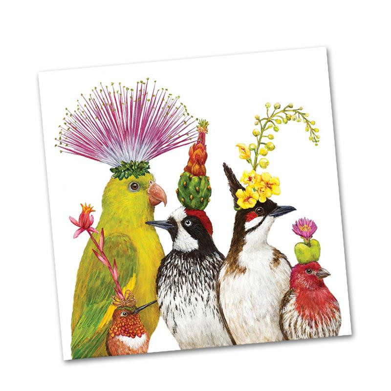 Spectacular birds in fanciful headdress! From the vivid imagination of Vicki Sawyer. Her charming images of combining floral and animals, always a welcome addition to the home and a delight to bird lovers. Collect them all, they look great mixed! Printed on luxury 3-ply paper napkins. Package of 20 Napkins 5
