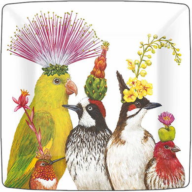 Spectacular birds in fanciful headdress! From the vivid imagination of Vicki Sawyer. Her charming images of combining floral and animals, always a welcome addition to the home and a delight to bird lovers. Collect them all, they look great mixed! Printed on luxury 3-ply paper napkins.  7″ Square dessert/appetizer plate 8 paper plates per pack Heavy-coated, buffet weight Made in the USA Featuring artwork by Vicki Sawyer