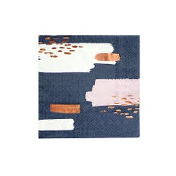 "Enhance your cocktail bar and dessert station with our beautiful and bold abstract cocktail napkins!  Colors: Navy, white, pale pink, rose gold foil Cocktail napkins Paper Approx. 5"" folded 20 Napkins / pack"