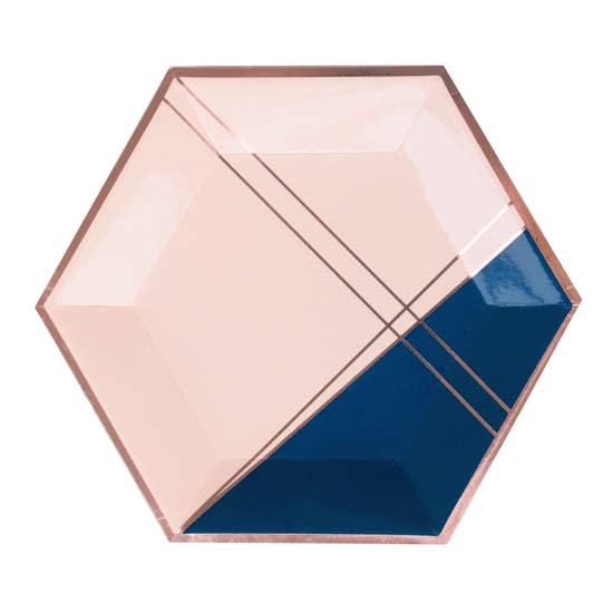 A modern, graceful color palette inset with fine rose gold trim, elevate your party with our colorblock hexagon party plates. Perfect for bridal showers, special birthdays, or gender reveal parties!  Colors: Pale pink, navy, rose gold foil Paper plates Approx. 10.5