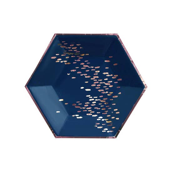 Beautiful layers of painterly strokes with rose gold foil details, elevate your party with our abstract hexagon party plates. Serve up starters or dessert in the perfect handheld size plate for bridal showers, special birthdays, or gender reveal parties!  Colors: Navy, rose gold foil  Paper Approx. 8