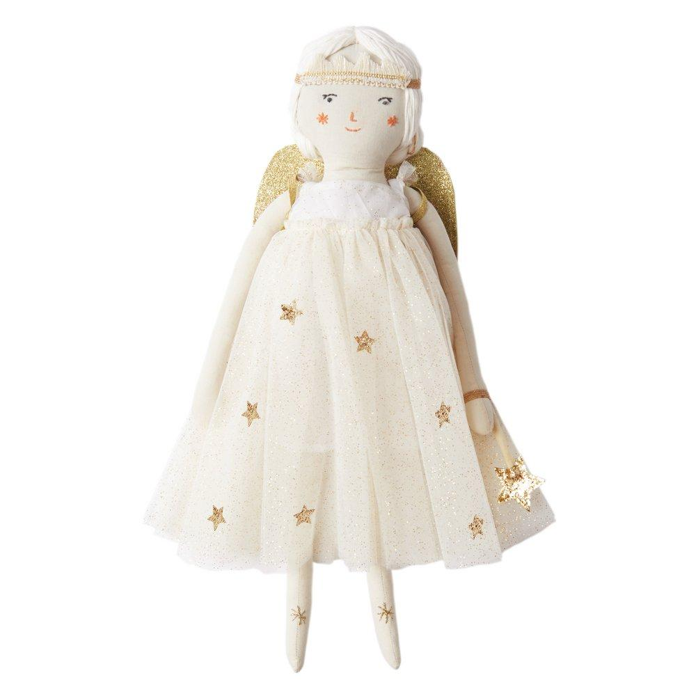 Evie, our beautiful fairy doll, is a gorgeous gift. Each of our dolls comes with her own name and distinct identity, so little ones will love to make friends with them. She has sweet stitched features, white yarn hair and a pretty gold flecked tulle dress. She comes with a gold wand, headband and glittery fairy wing accessories. She also has a delightful fact card, which lists her favourite things.   Cotton with polyester filling Stitched features with white yarn hair Gold thread detail Gold flecked tulle d