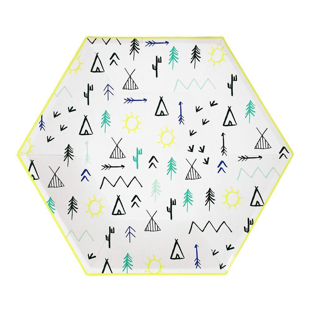 Throwing a party for someone who longs for adventure? Bring a touch of the wild into your party space (without calling in the zoo), with our brilliant Let's Explore collection. These party plates are perfect for little campground adventurers, with a cool pattern in bright colors.   Large Pack of 12 Neon print detail Size approx: 9