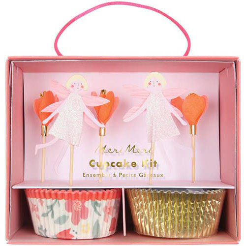 A magical way to decorate your party cupcakes, this delightful cupcake decorating kit comes with a set of patterned bake cases in 2 styles and 3 designs of topper with a pretty fairy, flower and toadstool. The toppers are embellished with shiny gold foil. Pack of 24 cases in 2 designs & 24 themed toppers.  Pink glitter & gold foil detail.