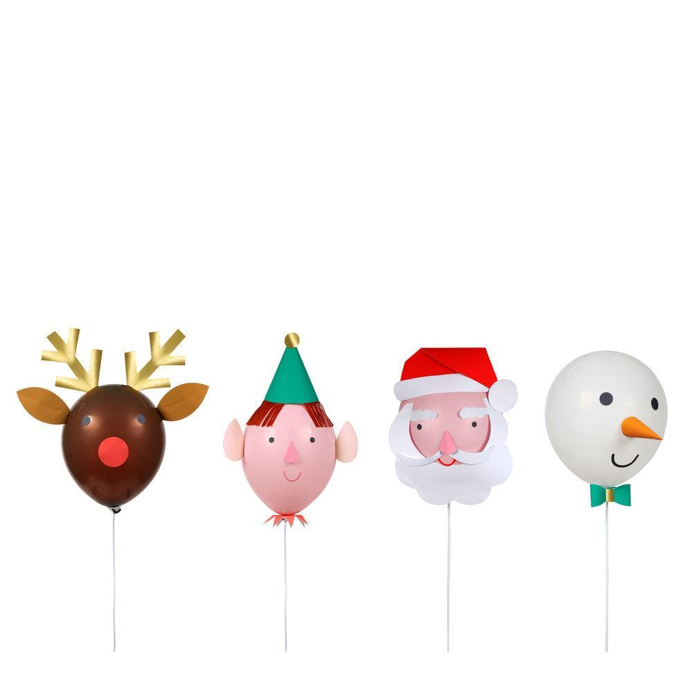 This pack of fun festive balloons is the perfect actitivity to decorate the house for the holidays. Also makes a great gift!  Pack of 8 balloons  4 wands Self-adhesive decorative pieces to make 4 characters Gold foil detail