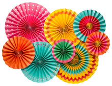 Add festive decor to your next party with our fiesta party fans!  Each fan box includes: 2-17 inch fans, 2-14 inch fans, 2-11 inch fans, and 2-8 inch fans. Each fan has an adhesive strip for permanent use, or a paper clip for temporary use. Each fan has a string attached for hanging.