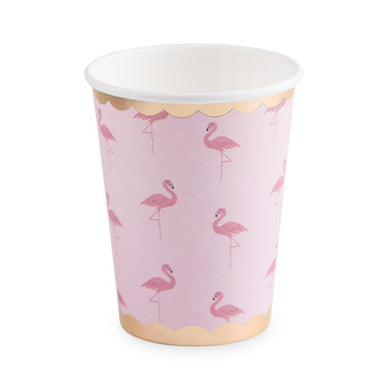 These paper party cups flaunt flamingos a go-go! 8 Paper cups Holds 9 oz