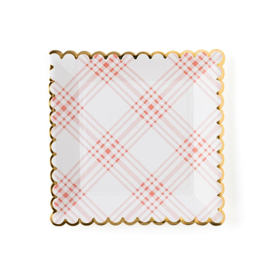 If you're like us you love party food, but hate the dishes that it makes! So pick up these scalloped plaid paper plates, for elegant party style and easy clean up.  From princess tea parties, bridal shower brunches, springtime garden parties, and elegant baby showers, these plates will simplify setting the table for your event and tie it all together.  The stylish scalloped edge adds the perfect touch to an upscale event, or just the right amount of festivity to a backyard cookout.  • 9